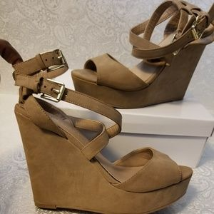 Chinese Laundry - Taupe Wedge Sandals
